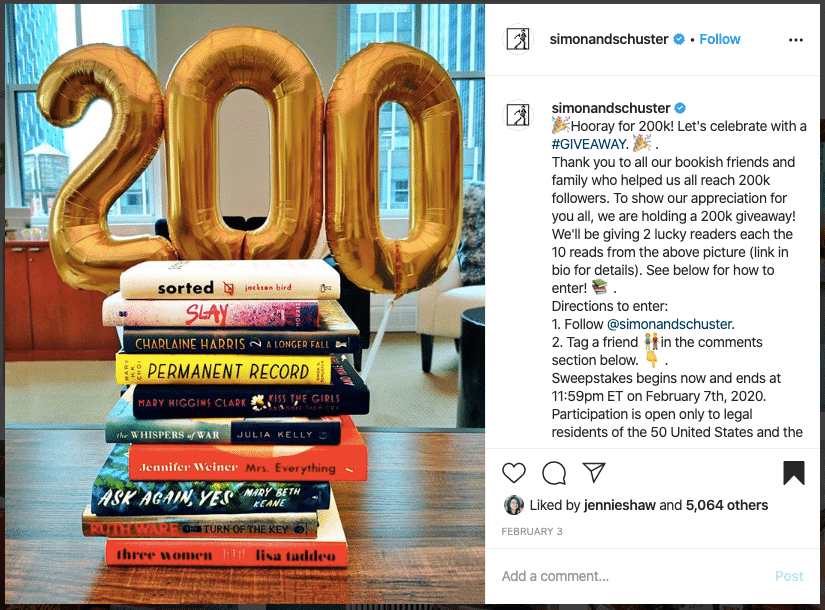 Simon and Schuster - Run an Instagram Giveaway