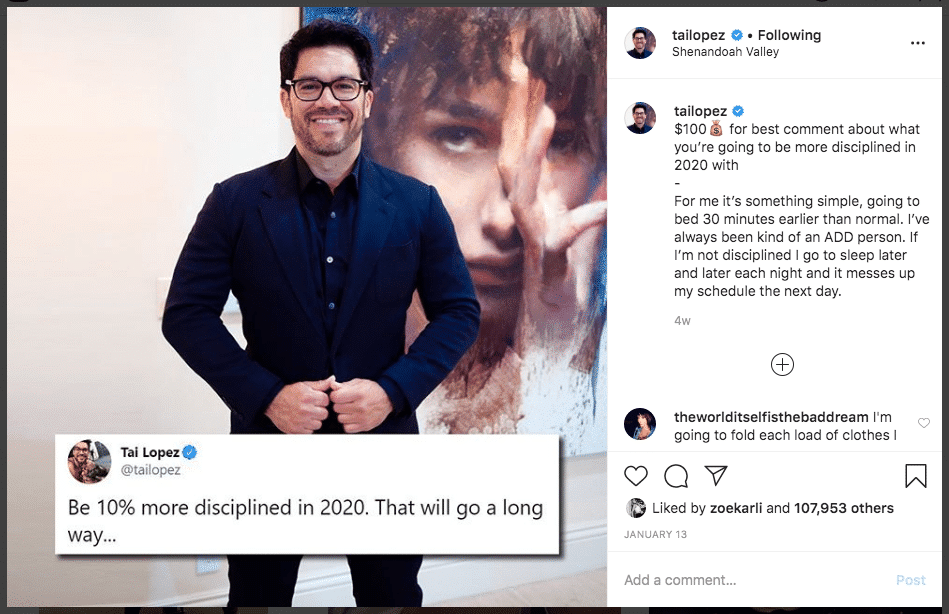 Tai Lopez - Right Instagram Giveaway strategy