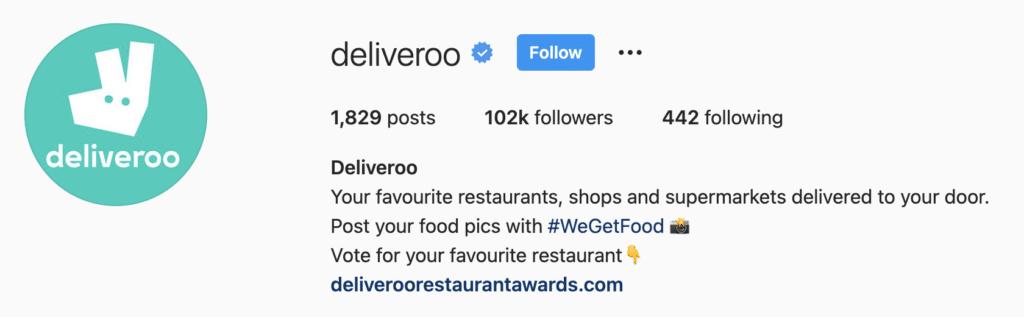 Instagram Bio Examples Deliveroo