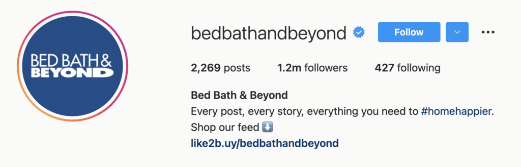Instagram Bio Examples Bath And Beyond