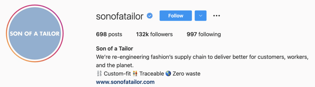 Instagram Bio Examples b2b d2c Son of a Tailor