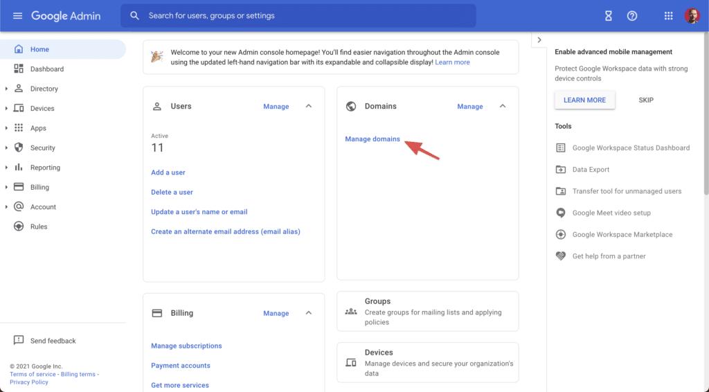 Google Workspace domain management