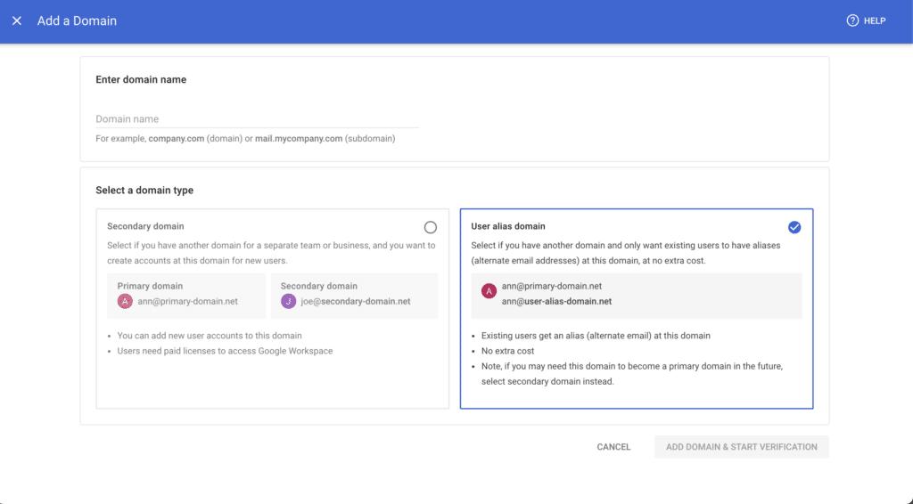 Google Workspace secondary domain