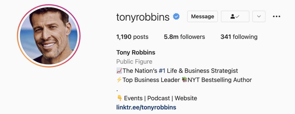 Instagram bio example tony robbins