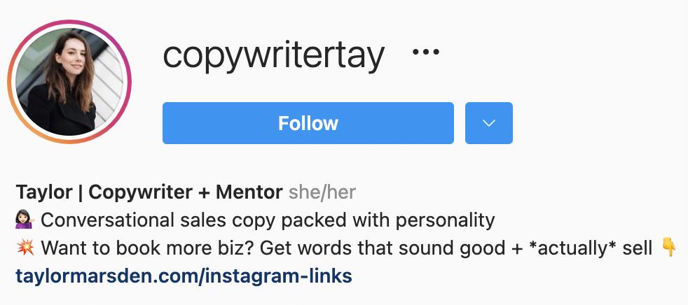 Instagram bio cta example