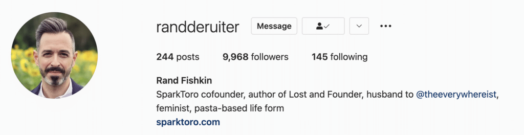 Instagram bio example Rand Fishkin