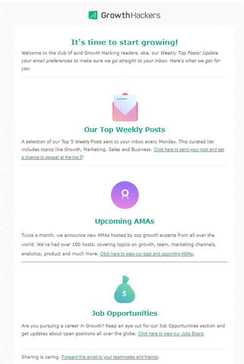 Saas Newsletter welcome email example